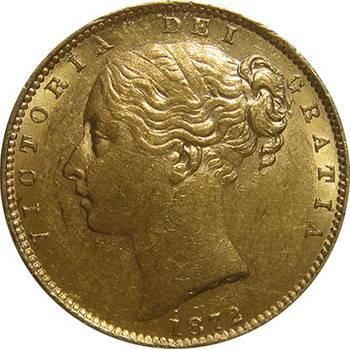 1872 M Australia Victoria Young Head Shield Sovereign Gold Coin