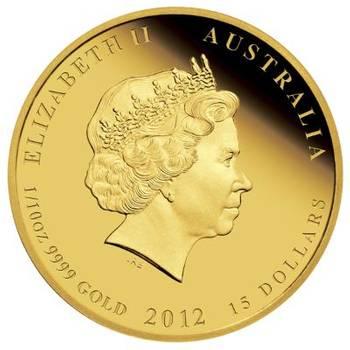 1/10 oz 2012 Australian Lunar Year of the Dragon Gold Bullion Coin