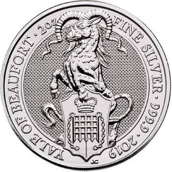2oz 2019 Great Britain Queen's Beasts Yale Of Beaufort Silver Bullion Coin (Brand New Coins)