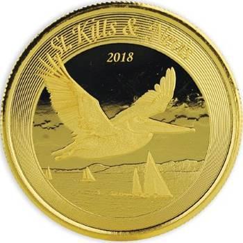 1 oz 2018 St. Kitts & Nevis Brown Pelican Gold Bullion Coin
