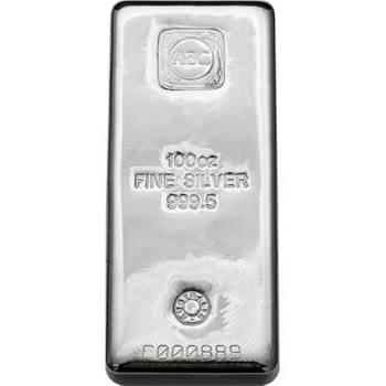 100oz ABC Cast Silver Bullion Bar (Brand New Bars)