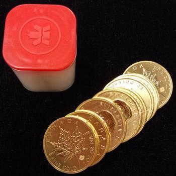 1 oz Canadian Maple Leaf Gold Bullion Coin Mixed Dates - 10 oz Mint Tube