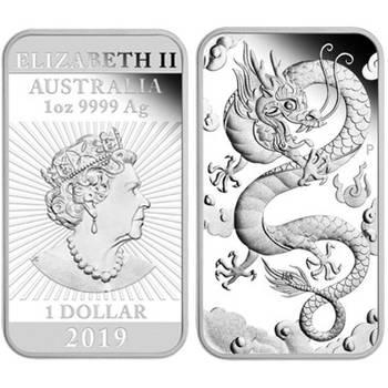 1 oz 2019 Rectangular Dragon Silver Proof Coin