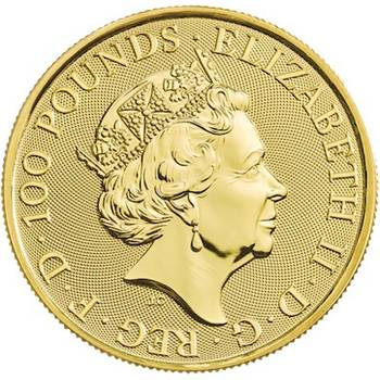1oz 2020 Great Britain Queen's Beasts White Lion of Mortimer Gold Bullion Coin