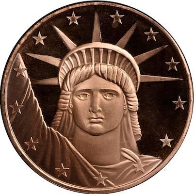 1oz AVDP Statue of Liberty Copper Round Master Box