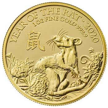 1oz 2020 UK Lunar Year of the Rat Gold Bullion Coin