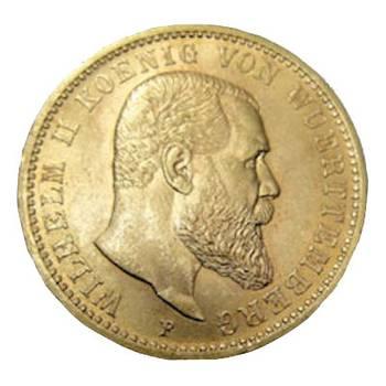 1900 German Wuerttemberg Wilhelm II  Gold 20 Mark Coin  -Choice Uncirculated