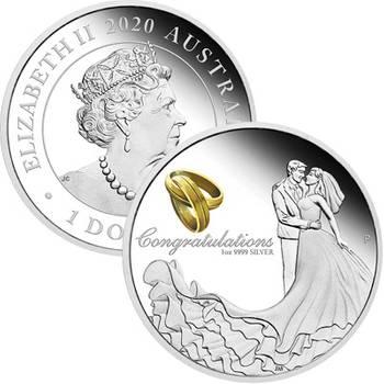 1 oz 2020 Wedding Silver Proof Coin