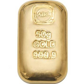 50 g ABC Gold Bullion Cast Bar