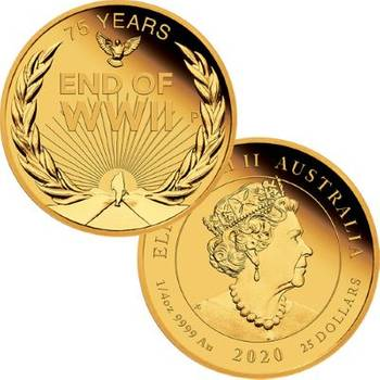 1/4 oz 2020 End of WWII 75th Anniversary Gold Proof Coin