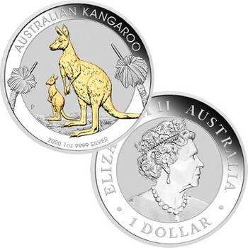 1 oz 2020 Australian Kangaroo Silver Gilded Coin