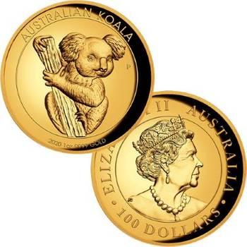 1 oz 2020 Australian Koala Gold Proof High Relief Coin