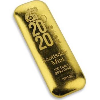 100 g 2020 Scottsdale Year of the Rat Gold Bullion Cast Bar