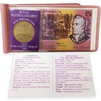 1988 Australian 5 Dollar Coin & 1967 Australian 5 Dollar Banknote Set