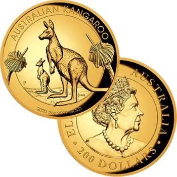 2 oz 2020 Gold Australian Kangaroo Proof High Relief Coin