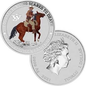 1 oz 2021 John Wayne Silver Coloured Proof Coin in Card