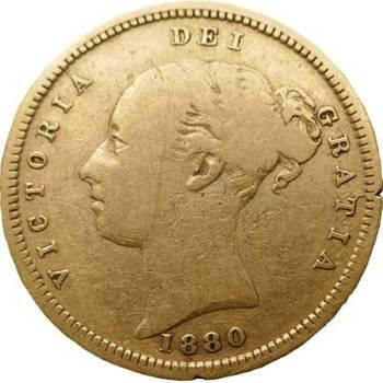 1880 S Australia Queen Victoria Young Head 1/2 Sovereign Gold Coin