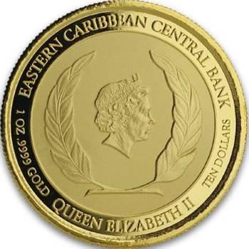 1 oz 2019 St. Kitts & Nevis Brown Pelican Gold Bullion Coin