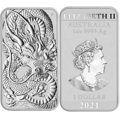 1 oz 2021 Dragon Rectangular Silver Bullion Coin 200 oz Monster Box