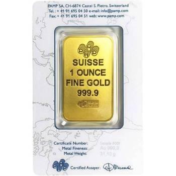 1 oz PAMP Suisse Gold Bullion Minted Bar New Design