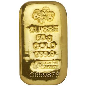 50gram Pamp Suisse Cast Gold Bullion Bar