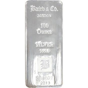 100oz Baird & Co Cast Silver Bullion Bars