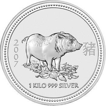 1 kg 2007 Australian Lunar Year of the Pig Silver Bullion Coin