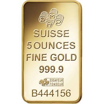 5oz PAMP Suisse Gold Bullion Minted Bar