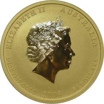 1/2 oz 2008 Australian Lunar Year of the Mouse Coloured Gold Bullion Coin