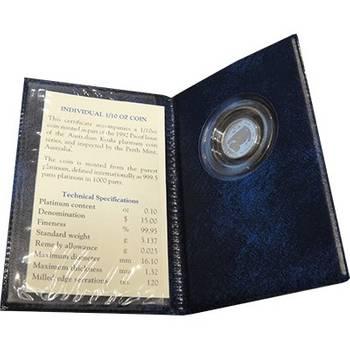 1/10oz 1992 Australia Koala Platinum Bullion Coin (In Blue Folder)