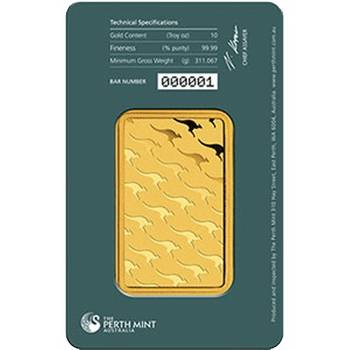 10oz Perth Mint Gold Bullion Minted Bar (Brand New Bars)