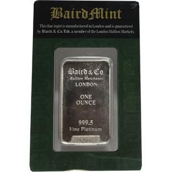 1oz Baird & Co Minted Platinum Bullion Bar (Brand New Bars)