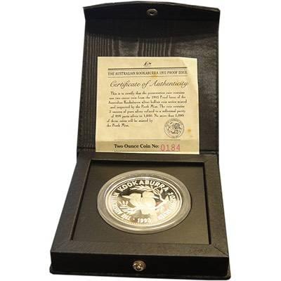2 oz 1993 Australian Kookaburra Silver Proof Coin