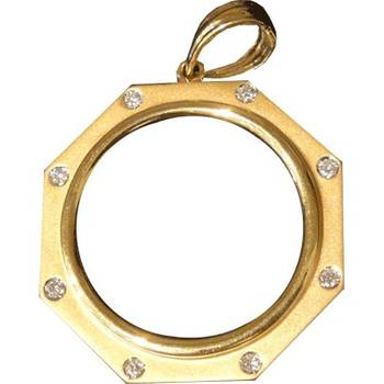 1/2oz Gold Coin Pendant With Diamonds