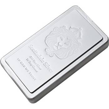 10 oz Scottsdale Stacker Silver Bullion Bar
