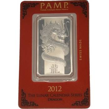1oz 2012 PAMP Suisse Year of the Dragon Minted Silver Bullion Bar
