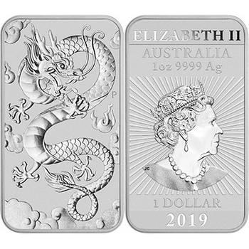 1oz 2019 Australian Rectangular Dragon Silver Bullion Coin (Brand New Coins)