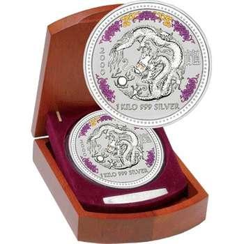 1 kg 2000 Lunar Year of the Dragon Gemstone Silver Coin