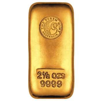 2.5 oz Perth Mint Gold Bullion Cast Bar