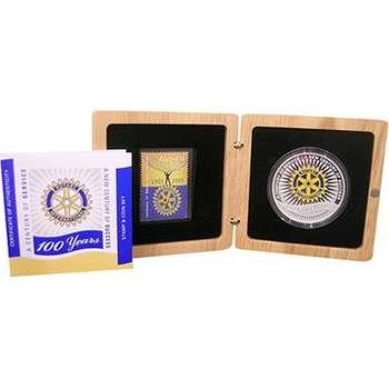1 oz 1905 - 2005 100 Anniversary Rotary International  Stamp & Silver Coin Set