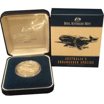 1996 Silver Australia Endangered Species Southern Right Whale Ten Dollars Coin Proof