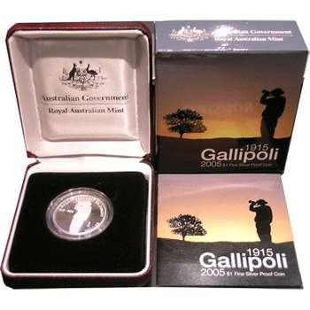 1915-2005 Australia Gallipoli One Dollar Silver Coin