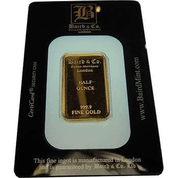 1/2 oz Baird & Co Gold Bullion Minted Bar