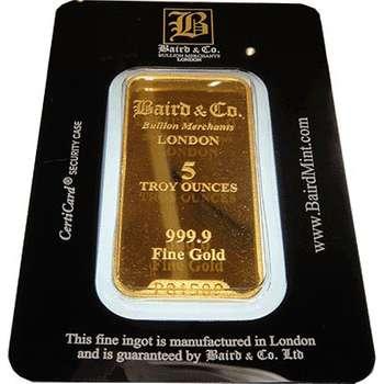 5 oz Baird & Co Minted Gold Bullion Bar