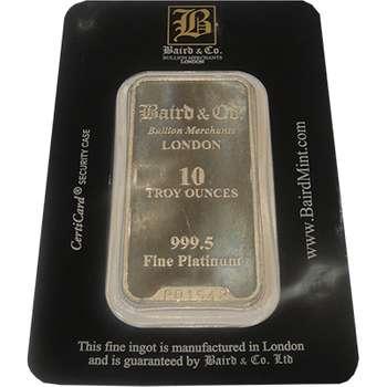 10 oz Baird & Co Platinum Bullion Minted Bar
