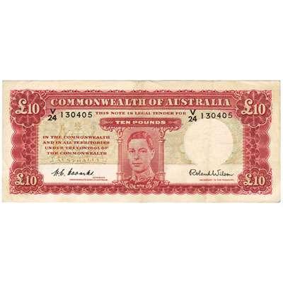 1952 Australia R. 61L Ten Pounds King George VI Coombs/Wilson Australian Predecimal Banknote