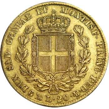 1849 P Italy Carlo Alberto 20 Lire Gold Coin