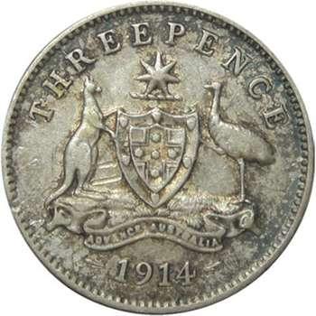 1914 Australia King George V Threepence Silver Coin