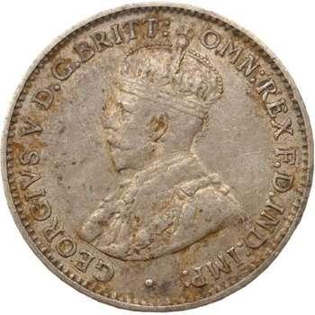 1916 M Australia King George V Threepence Silver Coin
