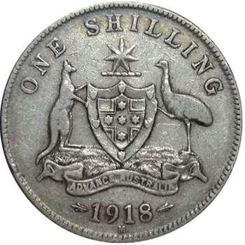 1918 M Australia King George V Shilling Silver Coin
